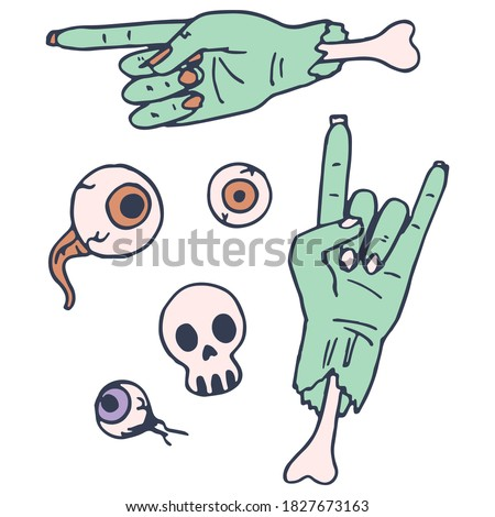 green zombie hand on white