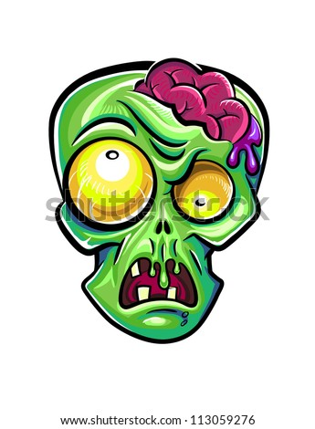 green zombie's head with brains