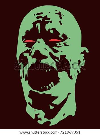 green zombie screams head