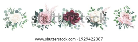 Greenery, burgundy red and white peony, blush rose flowers vector design wedding bouquets. Rustic greenery. Mint and wine red tones. Watercolor arrangement decor. Summer style. Isolated and editable