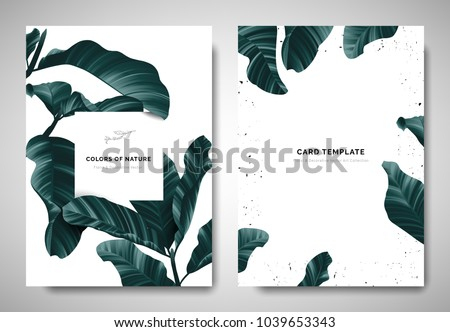 Greenery greeting/invitation card template design, dark green leaves with white square frame on white background