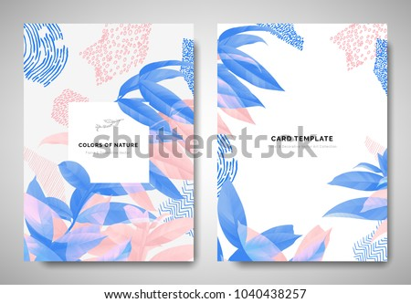 Greenery greeting/invitation card template design, leaves on branch with hand drawn doodle graphics on grey background, blue and pink tones