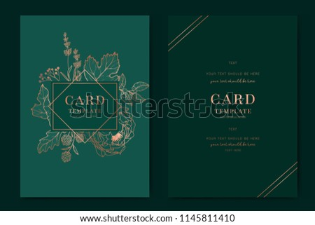 Fundo floral esmeralda download vetores e grficos gratuitos greenery greetinginvitation card template design metallic copper peony flowers and tropical leaf with reheart Gallery