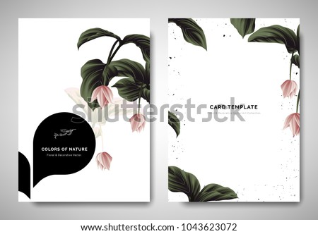 Greenery greeting/invitation card template design, pink Medinilla magnifica flowers with black bubble frame on white background #1043623072