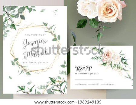 Greenery, pink an creamy rose flowers vector design invitation frames. Rustic wedding greenery. Mint, green, peachy  tones. Watercolor save the date cards. Summer rustic style. Isolated and editable