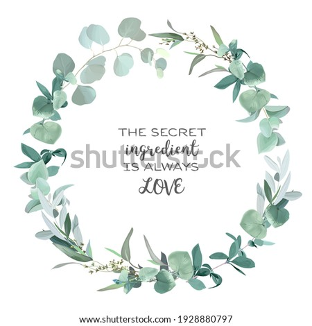 Greenery selection vector design round invitation frame. Rustic wedding greenery. Mint, blue, green tones. Watercolor save the date card. Summer rustic style. All elements are isolated and editable