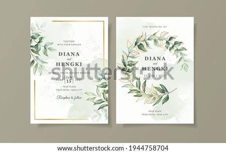 greenery wedding invitation card template