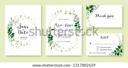 Greenery wedding Invitation, save the date, thank you, rsvp card Design template. Lemon leaf, silver dollar, olive leaves, Ivy plants. Vector. #1317882629