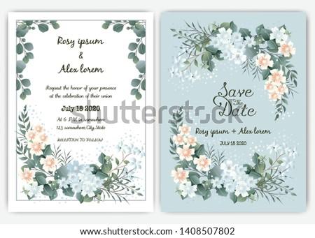 Greenery Wedding Invitation ,Template Eucalyptus  Wedding Invitation. #1408507802