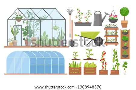 Greenhouse eco farm agriculture vector illustration set. Cartoon glass green house garden equipment or plants collection, wooden boxes with herbs, vegetables, agricultural technology isolated on white background