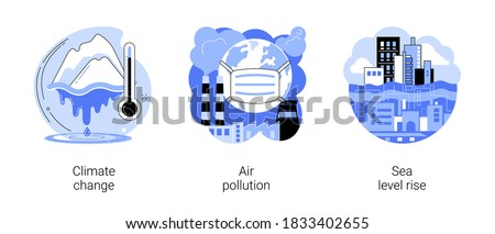 Greenhouse effect abstract concept vector illustration set. Climate change, air pollution, sea level rise, urban smog, global warming, melting ice, world ocean, factories pollution abstract metaphor.