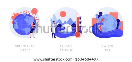 Greenhouse effect, climate change, sea level rise. Global warming effect. Ultraviolet radiation, food contamination, acid rain metaphors. Vector isolated concept metaphor illustrations. Foto stock ©