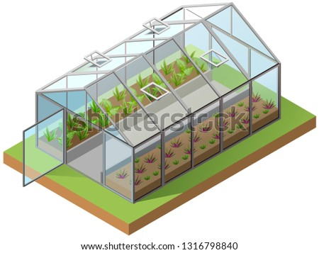 Greenhouse isometric 3d icon. Growing seedlings in glasshouse. Isolated on white vector illustration ストックフォト ©