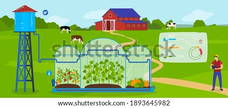 Greenhouse modern agriculture technology vector illustration. Cartoon flat agricultural landscape with green farmland field, farmer character growing vegetables using smart automated glasshouse system Foto stock ©