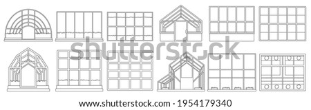 Greenhouse vector illustration on white background. Isolated outline set icon glasshouse. Vector outline set icon greenhouse ストックフォト ©