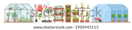 Greenhouse with growing flowers plants vegetables vector illustration set. Cartoon glass or plastic tunnel greenhouse construction, horticulture farm agriculture modern technology isolated on white Сток-фото ©