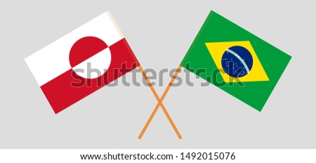 Greenland and Brazil. Crossed Greenlandic and Brazilian flags