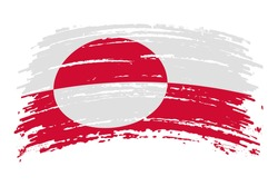 Greenland flag in real proportions and colors, vector image