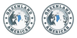 Greenland round logos. Circular badges of country with map of Greenland in world context. Plain and textured country stamps. Vector illustration.