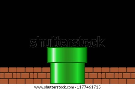greenpipe with brick on black