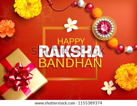Greeting background with decorated rakhi and gift for Raksha Bandhan (Bond of protection and care) – Indian festival of sisters and brothers. Vector illustration.