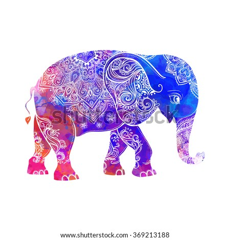 Greeting Beautiful card with Elephant. Frame of animal made in vector. Hippie Style. Elephant Illustration for design, pattern, textiles. Hand drawn map with Elephant.