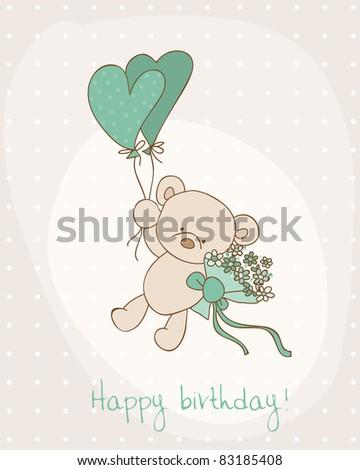 Greeting Birthday Card with Cute Bear