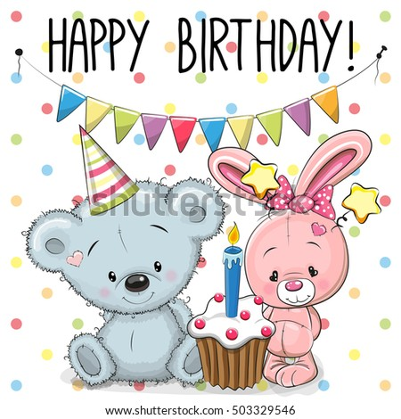 Greeting birthday card with cute rabbit and Teddy bear