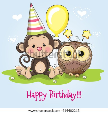 Greeting Birthday Card With Monkey And Owl Ez Canvas