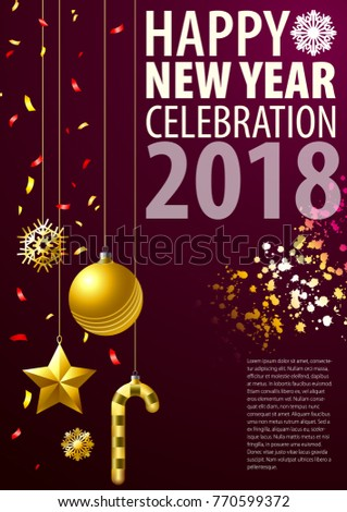 Greeting blank template for new year on christmas holiday. New Year's accessories are in the composition. #770599372