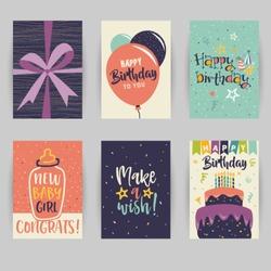 Greeting card, birthday, childbirth, invitation card. Baby, confetti, heart, star, peace, party, hello. Vector illustration easy editable for design.