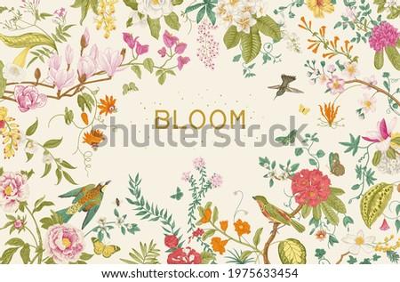 Greeting card. Bloom. Blooming tree. Horizontal frame. Vintage floral illustration