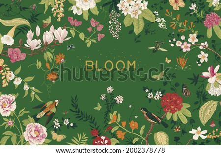 Greeting card. Bloom. Chinoiserie. Horizontal frame. Vintage floral illustration.