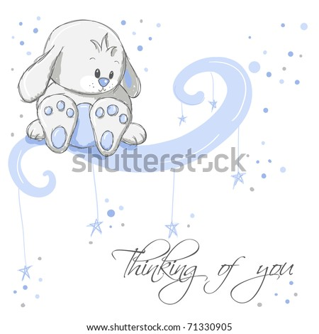 greeting card   blue rabbit