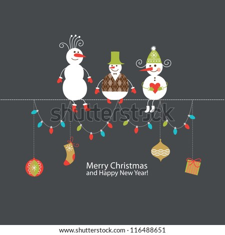Greeting card Christmas card with cute snowmen