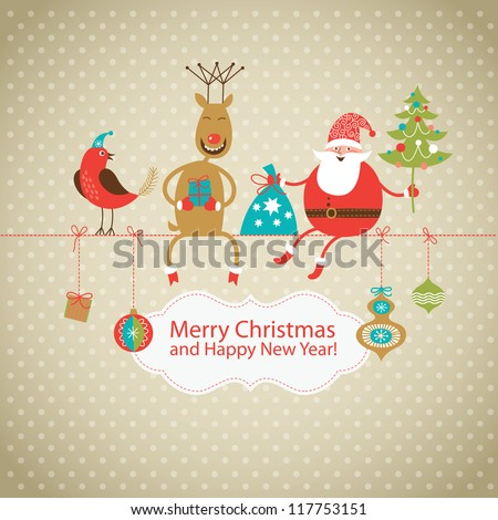 Greeting card Christmas card with Santa Claus deer and little bird