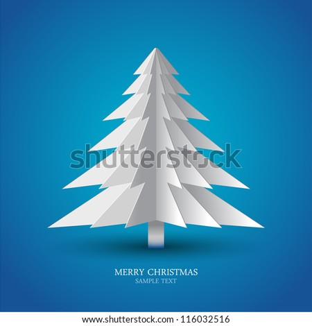 Greeting card christmas tree made from pieces of paper