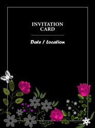 Greeting card. Complimentary ticket. Wedding, birthday, Valentine's day, party. Bright flowers on a black background. Place for text on the date and venue. Vertical format.