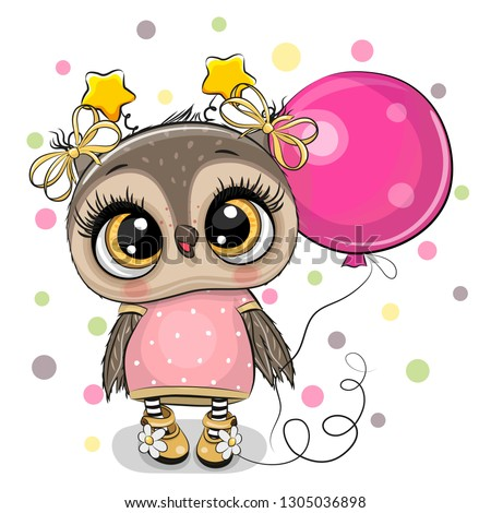 Greeting card Cute Cartoon Owl with pink balloon