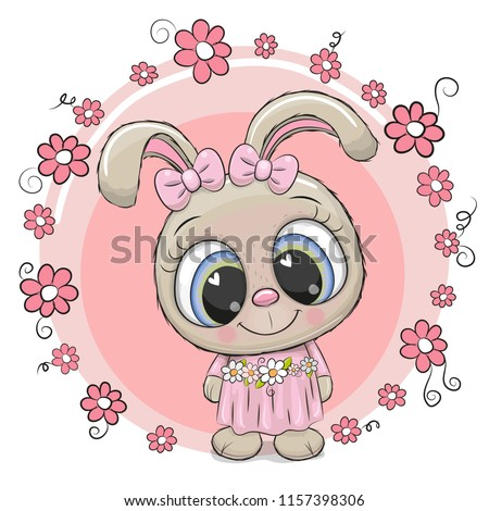 Greeting card Cute cartoon Rabbit with flowers