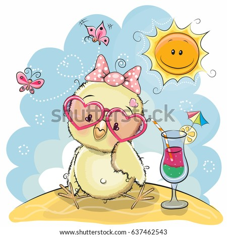 greeting card cute chick in sun