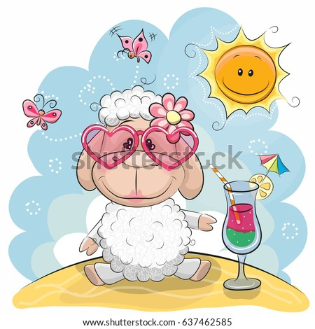 greeting card cute sheep in sun