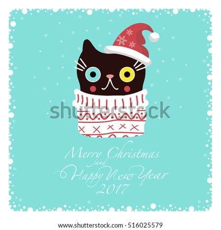 greeting card dark cat in a