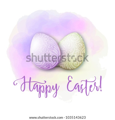 Greeting card decorated with Easter eggs and the inscription Happy Easter! in soft ultra violet colors.  Stock vector illustration Isolated on white background. #1035143623