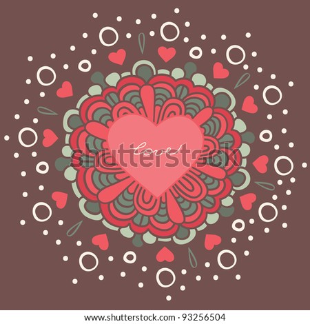 greeting card, decorative flower with a heart in the middle