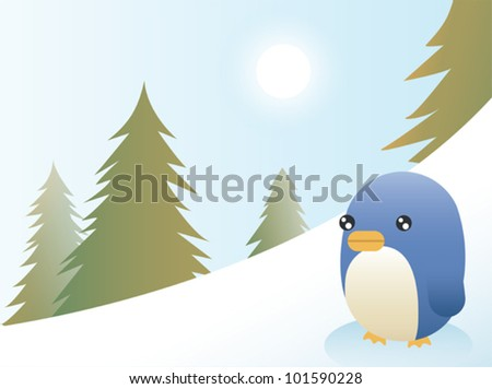 Greeting card design, a penguin on a ski slope. Eps 10 Vector.