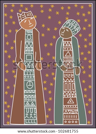 Greeting card design featuring two spiritual figures - Mary and Joseph