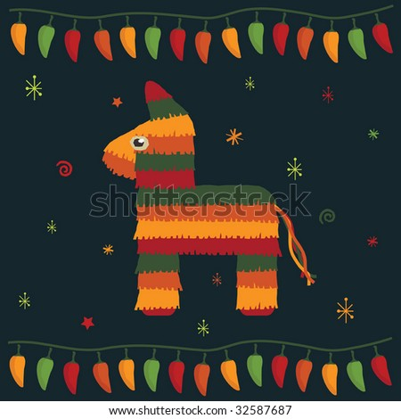 greeting card design in a mexican style with pinata