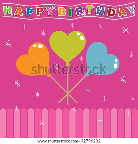 ... greeting card design in pink, with heart balloons a