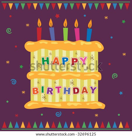 Greeting Card Design With Birthday Cake And Candles Sto